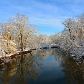 River in Winter by Carl Testo - Landscapes Waterscapes