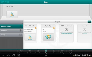 Screenshot of FNB Banking App for Tablet