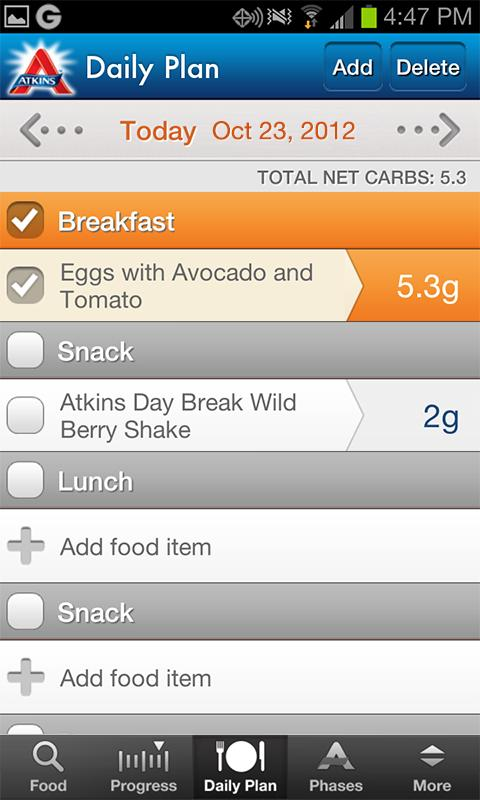 Atkins Carb Tracker - screenshot