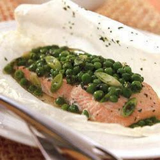 Poached Salmon With Peas And Mint.
