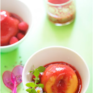 Nectarines in Lavender-Infused Raspberry Sauce.