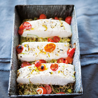 Halibut with Tomatoes and Leeks.