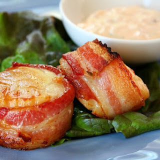 Bacon- Wrapped Scallops w/ Spicy Cilantro-Mayonnaise.