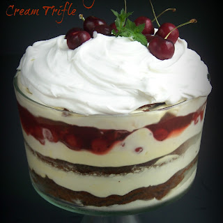 Chocolate, Cherry and Cream Trifle.