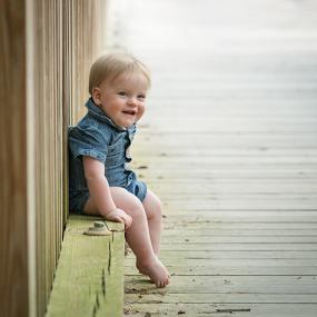 Tucker - 10 Months on the Bridge by Lorella Johnson - Babies & Children Toddlers ( baby boy denim smile )
