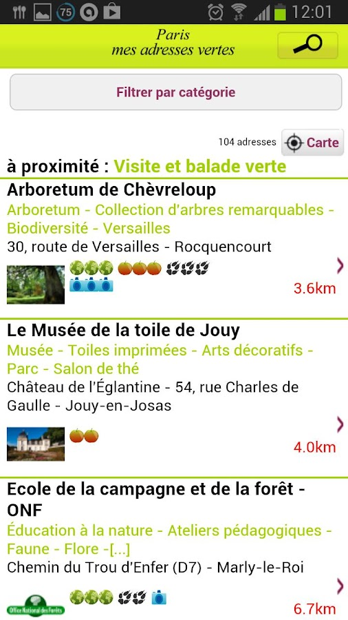 Paris mes adresses vertes- screenshot
