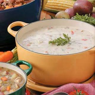 Hearty Garlic Potato Soup.