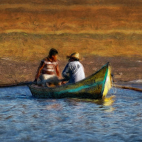 two men in a boat by John Kolenberg - Transportation Boats ( water, two, mexico, lake, men, boat, row )