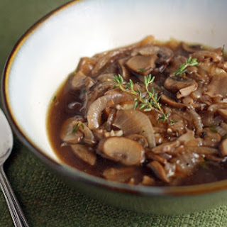 Mushroom Soup with Red Wine and Brie