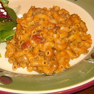 Macaroni and Cheese with Ground Beef, Salsa and Green Chiles.