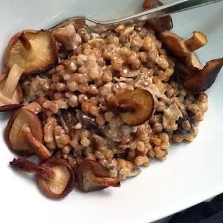 Creamy Israeli Couscous with Porcini and Shitake Mushrooms Recipe