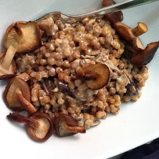 Creamy Israeli Couscous with Porcini and Shitake Mushrooms.