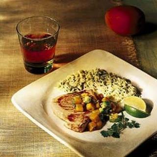Swordfish Steaks with Mango and Avocado Salsa.