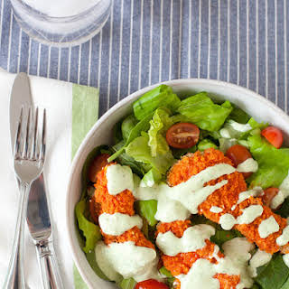 Buffalo Chicken Salad with Creamy Avocado Ranch Dressing.