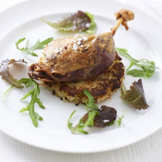 Confit Of Duck With Herbed Potato Cakes