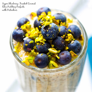 Super Blueberry Toasted Coconut Island Parfaits with Pistachios