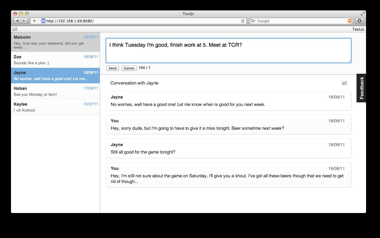 TextJs - SMS From Your Browser - screenshot