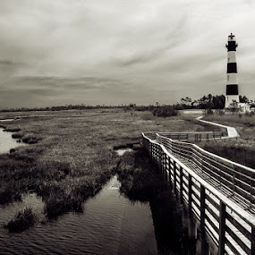 Serenity by Jarka Vojtaššáková - Black & White Landscapes ( mystery, outer banks, lighthouse, landscape, black&white )