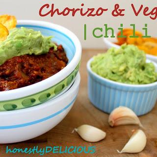 Chorizo Chili, Plantain Chips and Garlic Lovers' Guacamole