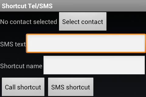 SMS/Call shortcuts- screenshot
