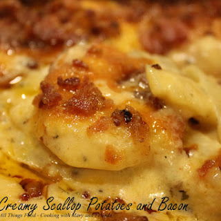 Cheesy, Creamy Scallop Potatoes with Bacon.