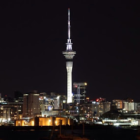 Skytower at night by Anita Elers-Cooper - City,  Street & Park  Night ( night lights, auckland, skytower, new zealand,  )