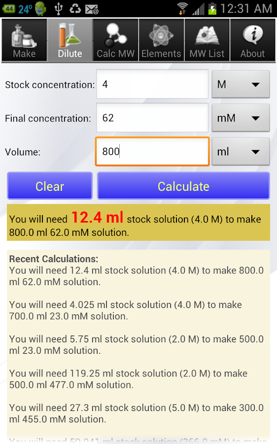 Solution Calculator Pro- screenshot