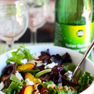 Grilled Peach, Chicken & Goat Cheese Salad with Honey White Balsamic Dressing.