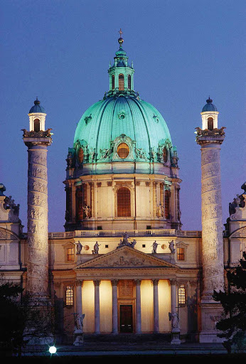 Karlskirche at night in Vienna. It's generally considered the most outstanding baroque church in Austria.