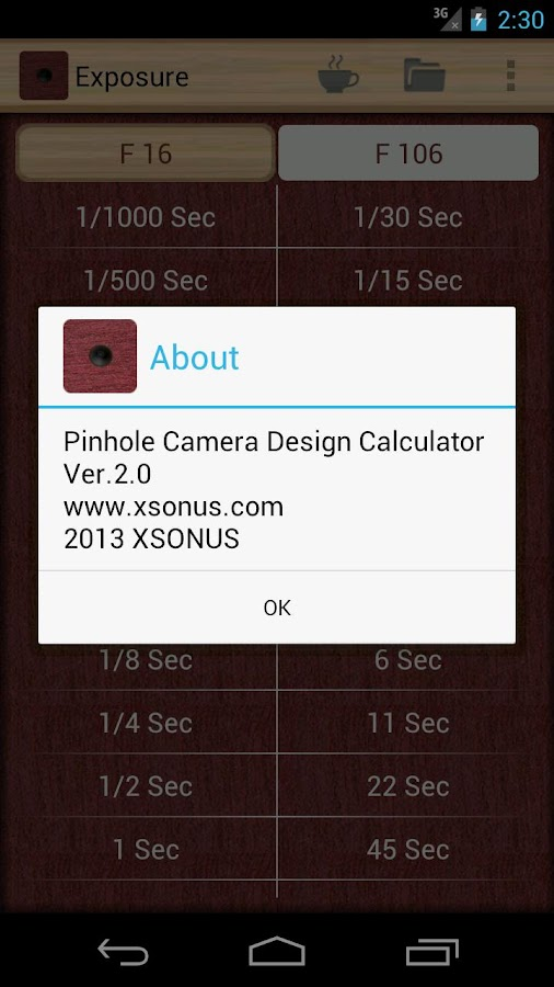 Pinhole Camera Calculator – Capture d'écran