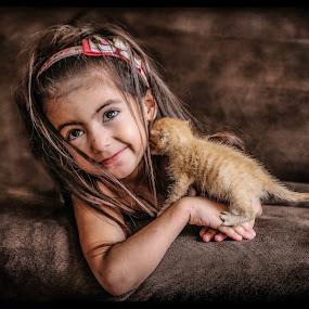kitty kiss by Nathalie Gemy - Babies & Children Children Candids ( cuteness, little girl, child candid, kitty, ginger cat, kid )
