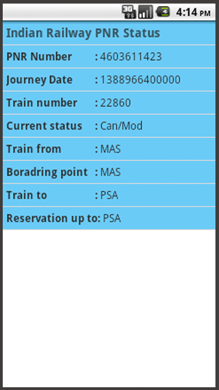 Indian Railway PNR Status - screenshot