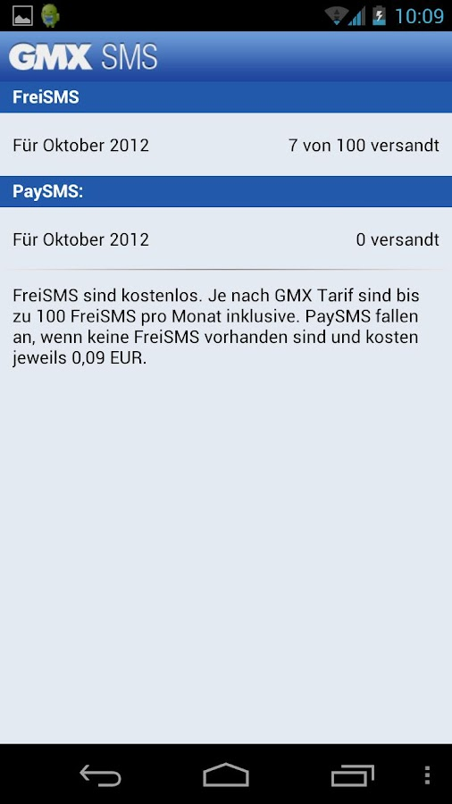GMX SMS- screenshot