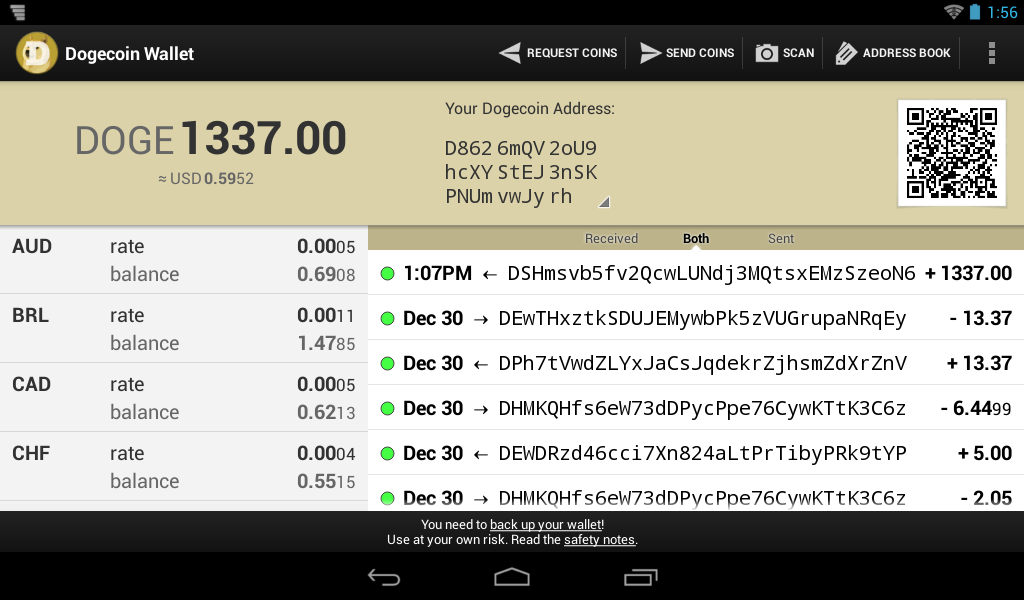 Dogecoin Wallet - screenshot