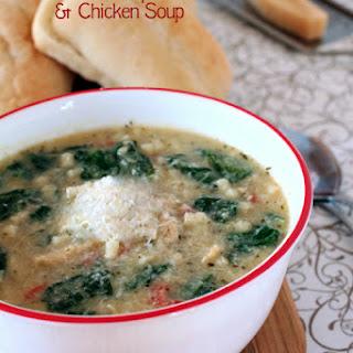 Creamy Artichoke, Spinach and Chicken Soup.