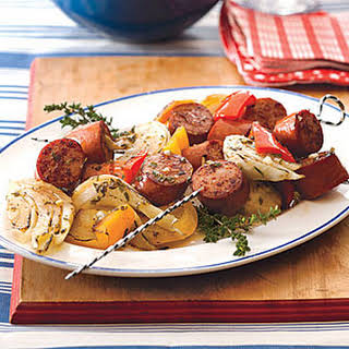 Turkey Kielbasa Kebabs with Peppers and Fennel.