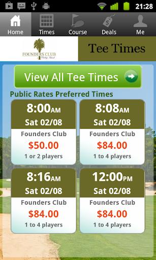 Founders Club Golf Tee Times