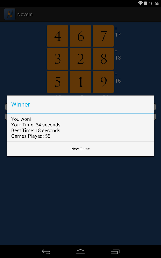 Novem: A Number Puzzle Game- screenshot