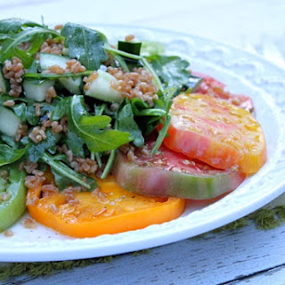 Tomato Salad with Crisped Farro, Cucumber and Arugula with Italian Vinaigrette