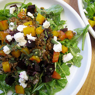 Roasted Beet Salad with Wheat Berries, Arugula and Feta
