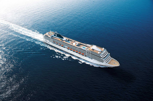 MSC-Poesia - MSC Poesia cruises to the ports of the Mediterranean and to South America.