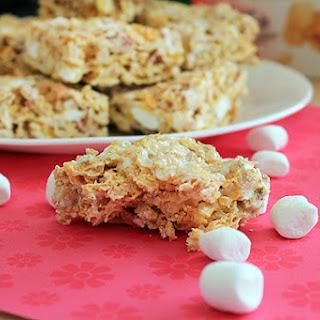 Raspberry Peach Marshmallow Squares.