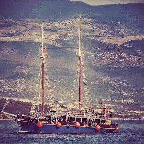 The Blue Passenger Ship Sailing the Adriatic Sea by Nat Bolfan-Stosic - Transportation Boats ( passenger, old, ship,  )
