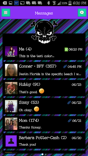 GO SMS - Luv Skulls 6