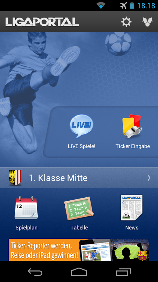 Ligaportal Fußball Live-Ticker - screenshot