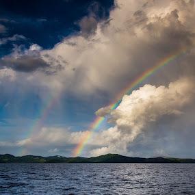 Stormy Rainbow by Jason Rose - Landscapes Weather ( thunderstorm, sailing, squall, fiji, vanua levu, rainbow )