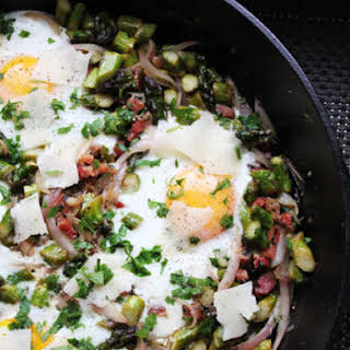 Skillet Eggs with Asparagus, Pancetta, and Parmesan.