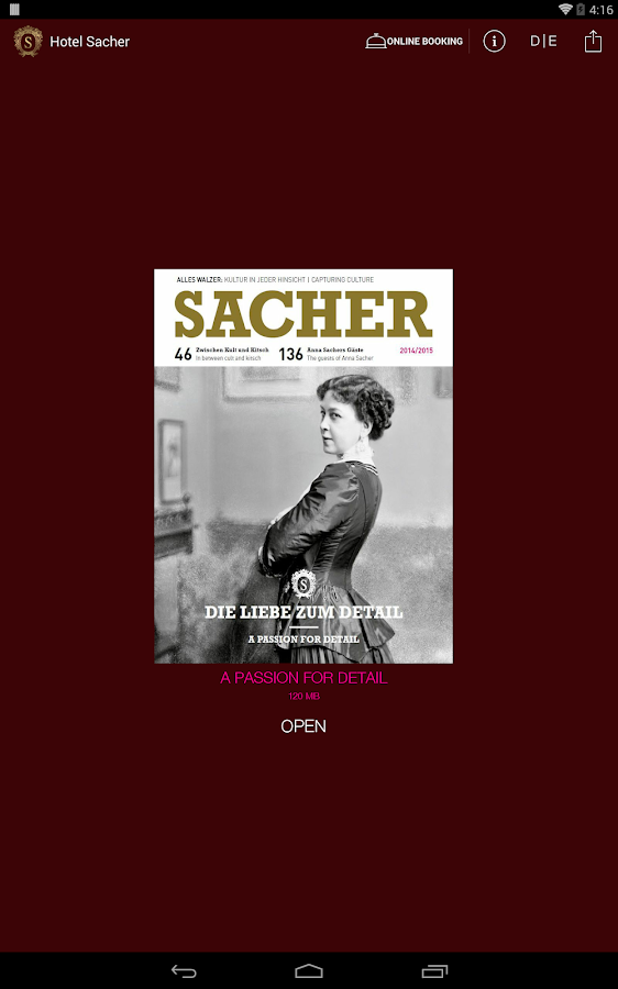 SACHER Magazine - screenshot