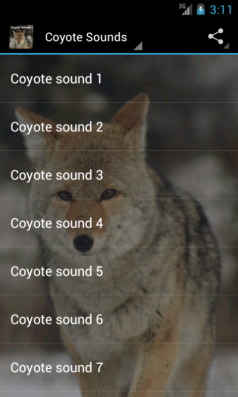 coyote sounds android apps on google play. Black Bedroom Furniture Sets. Home Design Ideas