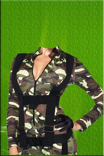 Woman Army Suit Photo Montage